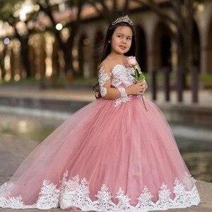 Длинное Пышное платье для маленьких девочек; Детское Свадебное бальное платье; Vestido Nina; Белое платье для первого причастия с цветочным узоро...