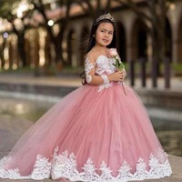 Long Little Girls Pageant Dress Robe Kids Wedding Ball Gown Vestido Nina Birthday Party White First Communion Flower Girls Dress