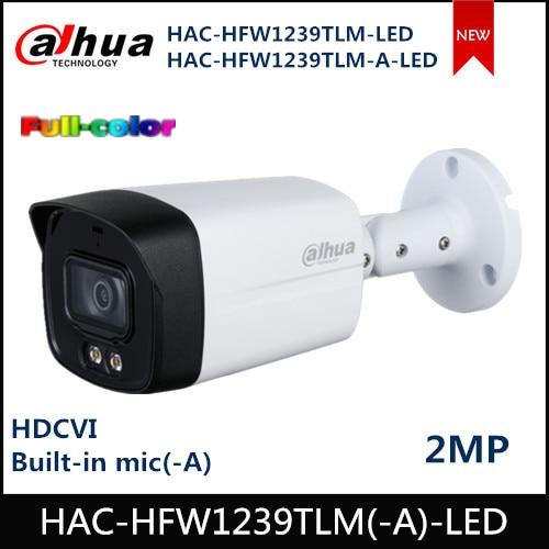 Dahua 2M HDCVI Camera Full Color Starlight HDCVI Bullet Camera 40m LED 3.6mm Fixed Lens CCTV Camera HAC-HFW1239TLM-A-LED