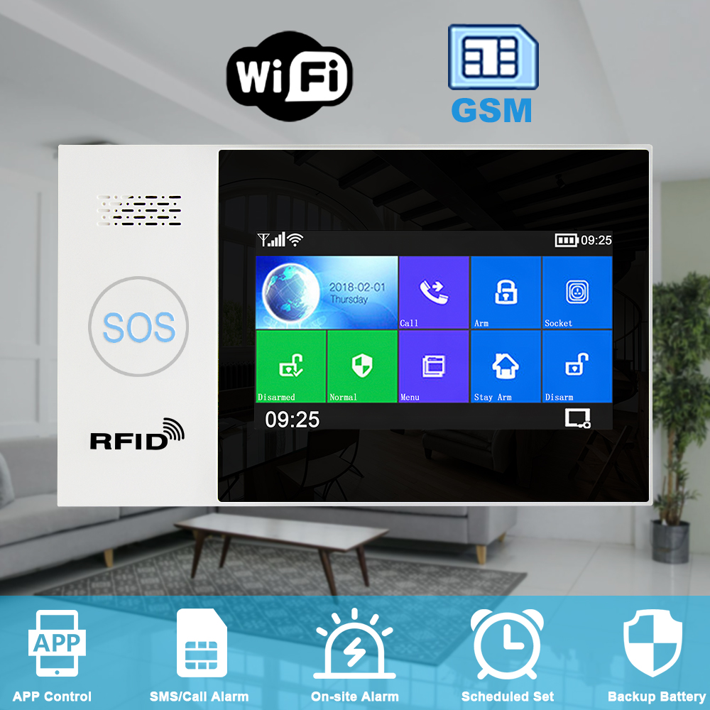 He9f25571f69f46e08a9cde38fa3d9bbb0 - Awaywar WIFI GSM smart Alarm System home Security Burglar kit 4.3 inch touch screen APP Remote Control RFID Arm Disarm