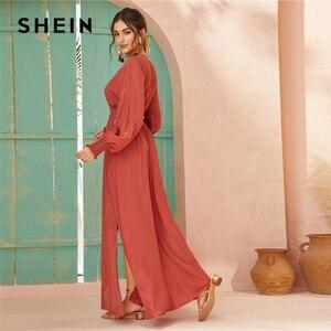 Image 2 - SHEIN Deep V Neck Red Solid Shirred Waist Split Hem A Line Dress Women 2019 Autumn Holiday Long Sleeve Ladies Boho Maxi Dresses