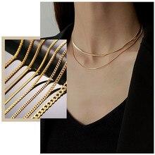 Colliers de base serpent blé Figaro pour femmes, chaîne à mailles cubaines, en acier inoxydable, métal couleur or, bijoux ras du cou