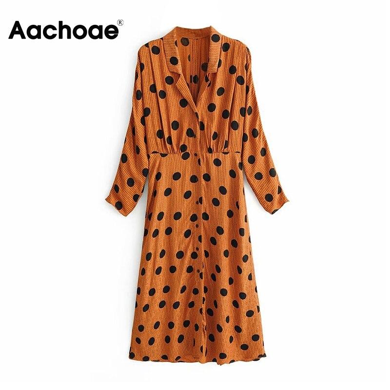Aachoae Polka Dot Midi Dress Women Batwing Long Sleeve Turn Down Collar Embroidery Shirt Dress Sexy Split Party Dresses Vestidos