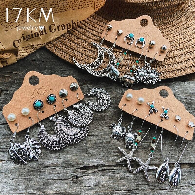 17KM Vintage Elephant Sun Shell Moon Earrings Set For Women 2020 Fashion Metal Fearther Dangle Earring New Ethnic  Jewelry