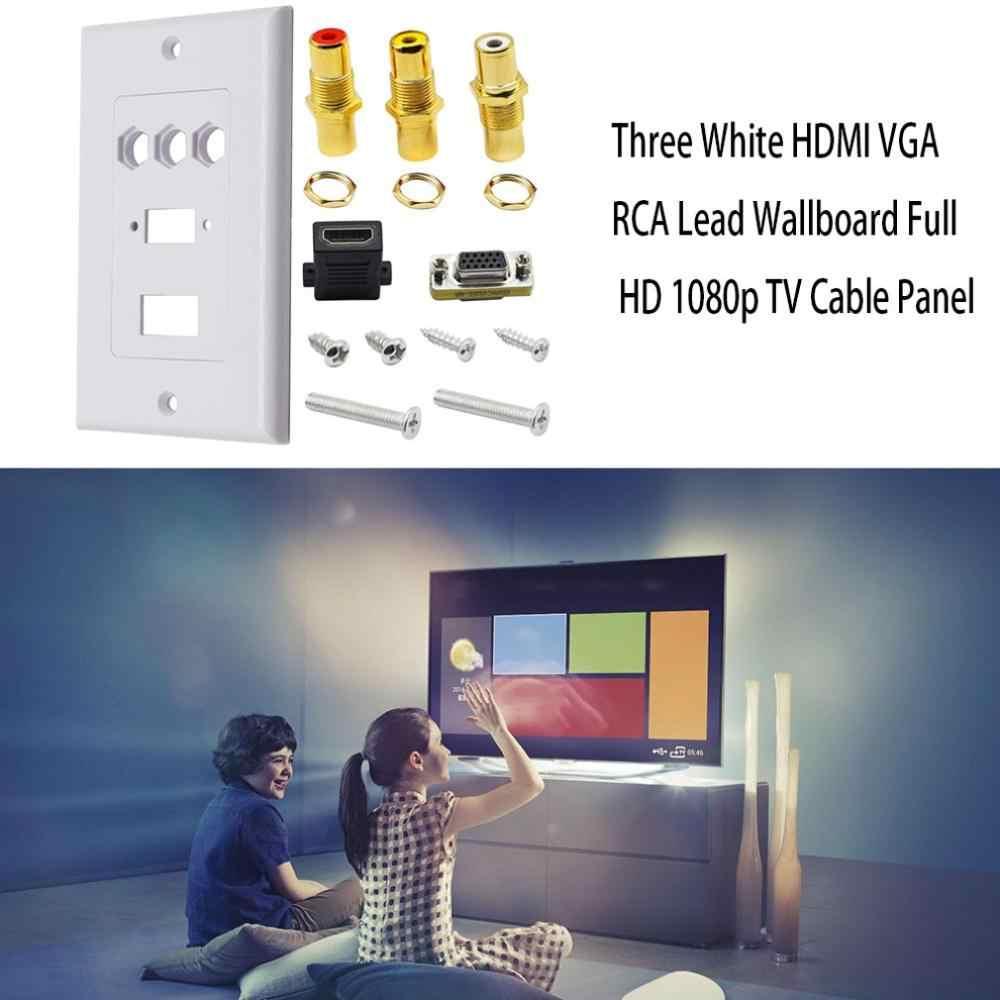 מעשי כפול חיבור יציאת לבן Hdmi Vga Rca עופרת קיר צלחת מלא Hd 1080 טלוויזיה כבל לוחית שקע מחבר