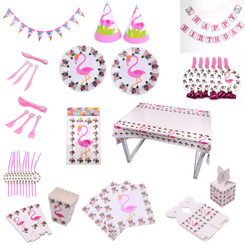 Тема вечерние украшения Фламинго Свадебные вечерние принадлежности посуда тарелка соломенный баннер для вечеринки в честь Дня Рождения ве...