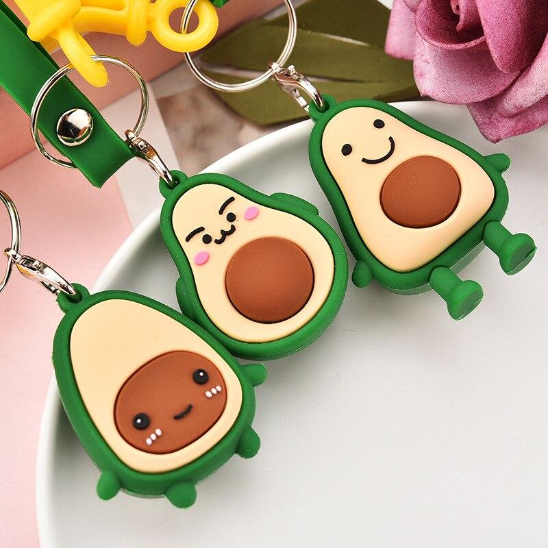 Llaveros de aguacate de fruta de goma suave moda simulación de fruta aguacate sonrisa-Cadena de llaves con forma creativa regalos de joyería para estudiantes