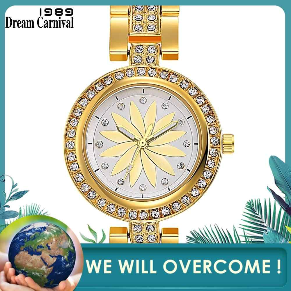 Dreamcarnival 1989 наручные часы для женщин, Роскошные Кварцевые часы с кристаллами и циферблатом, браслет из сплава, модный IP родий, золотой цвет, оптовая продажа A8353