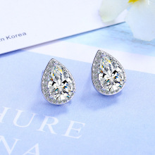 100% 925 Sterling Silver Fashion Cherry Water Drop Crystal Ladies`cute Stud Earrings Women