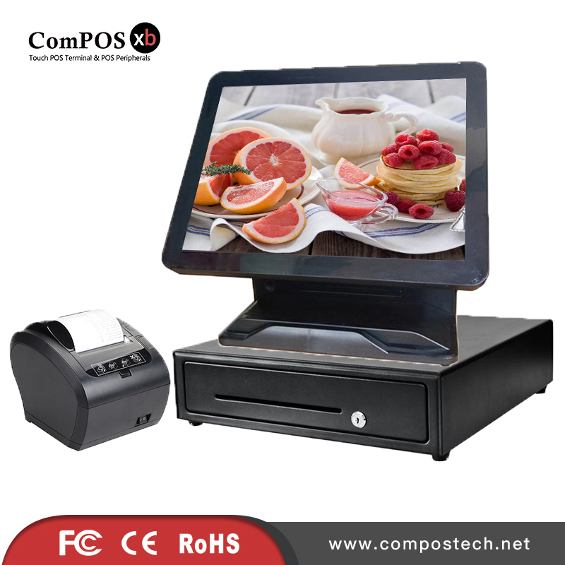 Windows All In One POS System/<font><b>Cashier</b></font> POS <font><b>Machine</b></font> Supermarket <font><b>Cashier</b></font> Equipment /Cash Register With 80mm Printer image