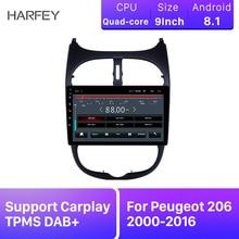 "Harfey coche 9 ""GPS estéreo 2Din HD Android 8,1 para Peugeot 206, 2000-2016 Auto Radio de Audio con AUX WIFI soporte Carplay TPMS DAB +"