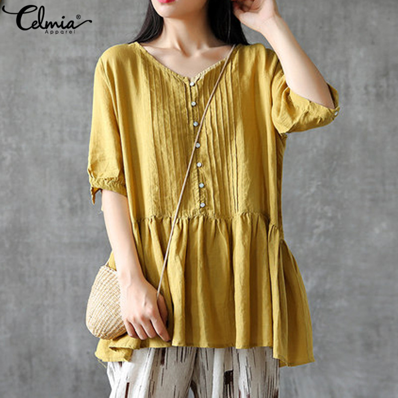 Celmia Women Ruffles Blouses Summer Tops Ladies Buttons Pleated Casual Loose Work Shirts Vintage Tunic Blusas Plus Size 5XL 4XL