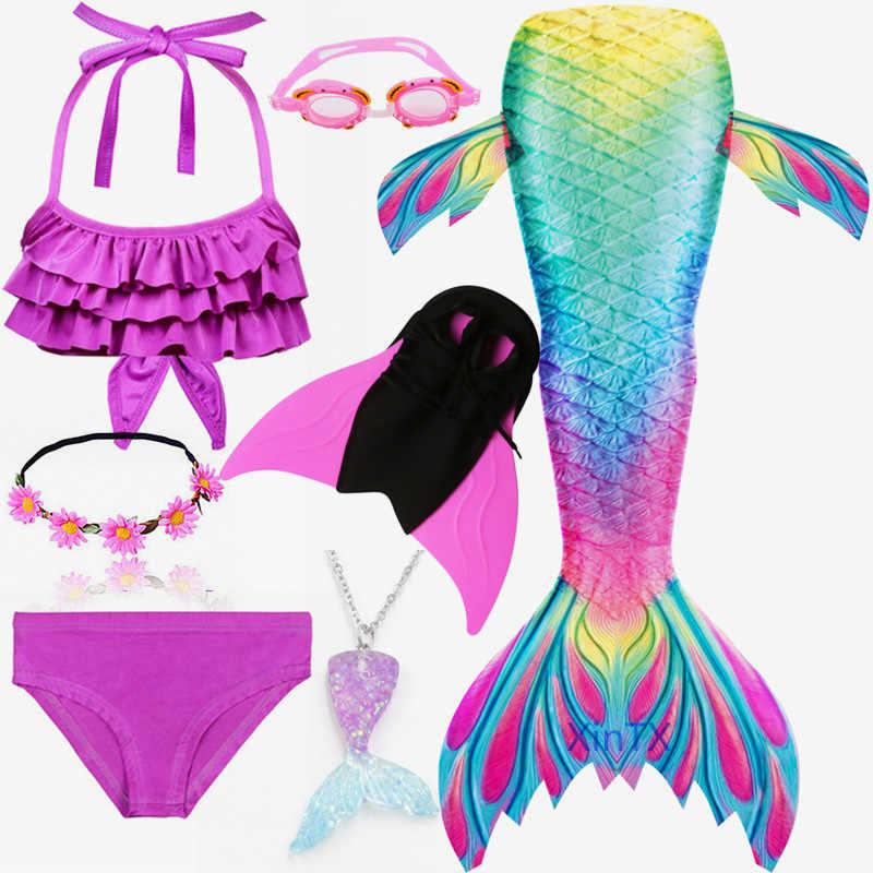 최신 무지개 능 직물 인 어 꼬리 아이들을위한 핀 수영복 수영을위한 플리퍼가있는 소녀를위한 비키니 수영복 복장