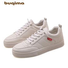 Buqima 2019 mens shoes casual leather flat with low-top board black sports New Small Leather Shoes