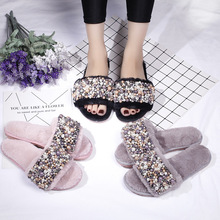 New Women Handmade Pearls House Slippers  Winter Indoor Woman Slip On Flats Shoes 2020 Fur