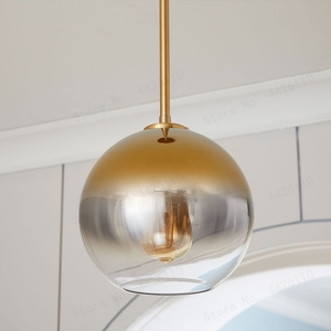 Image 3 - بلوبل الحديثة قلادة ضوء الفضة الذهب التدرج كرة زجاجية معلقة مصباح Hanglamp ضوء مطبخ تركيبات غرفة المعيشة الطعام