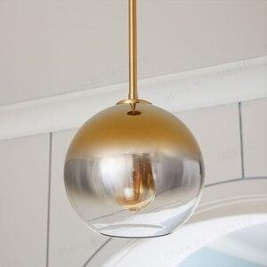 Image 3 - Blubble現代ペンダントライトシルバーゴールド勾配ガラス玉ぶら下げランプhanglampキッチン照明器具ダイニングリビングルーム