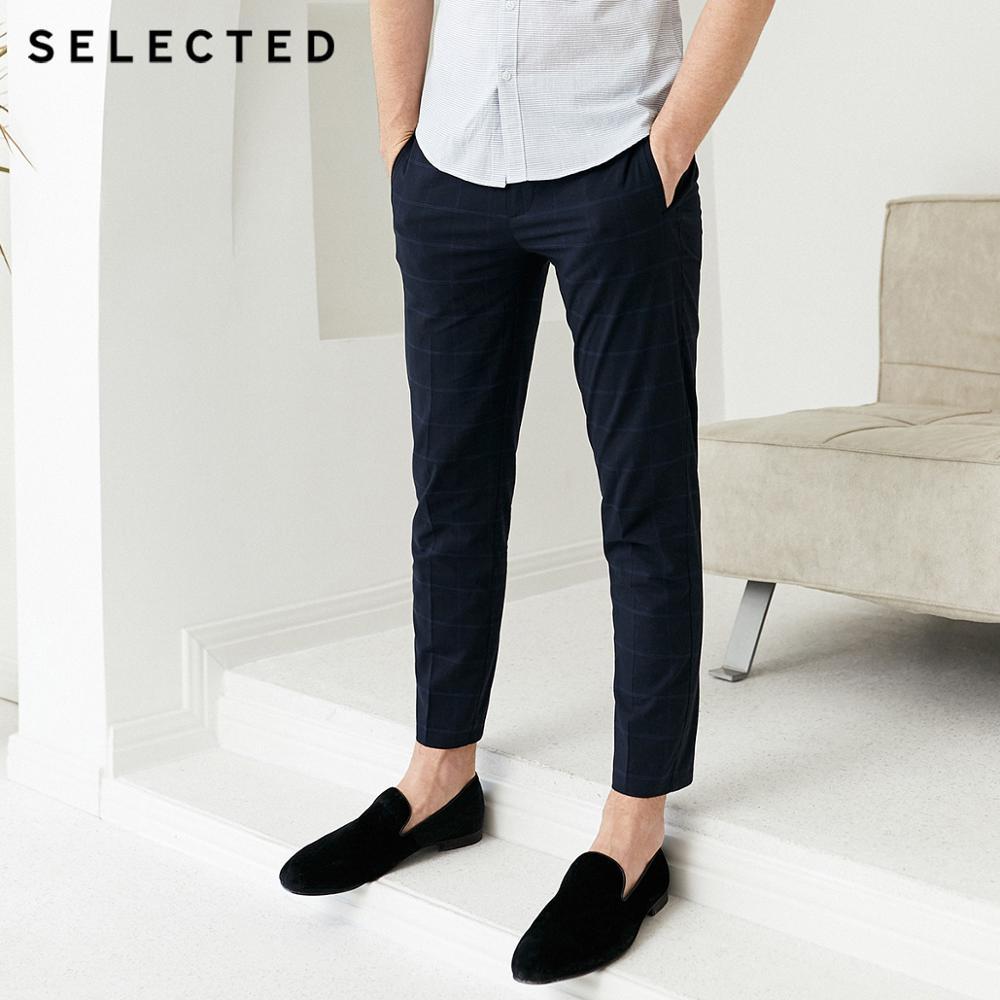 SELECTED Men's Slim Fit Cotton Casual Plaid Pants S 419214547