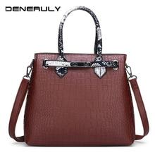 Luxury Crocodile Leather Handbags Women Bags Designer Brand Famous Vintage Women Shoulder Bags High Quality Leather Tote Bag цена 2017