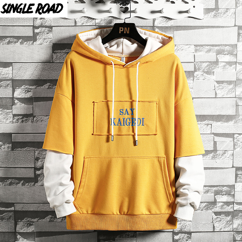 SingleRoad Men's Hoodies Oversized Hip Hop Japanese Streetwear Patchwork Yellow Hoodie Men Casual Sweatshirts Male Sweatshirt