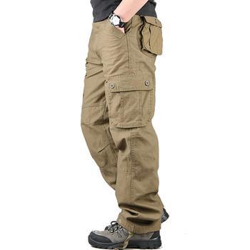 Pantalones de hombre Pantalones de Color sólido Multi-bolsillos Cargo pantalones holgados estilo de Safari deporte Casual 6 bolsillos Pantalones