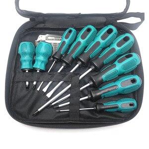 Image 1 - Juego de destornilladores 9 en 1 Destornillador Phillips ranurado herramientas de reparación cromo vanadio acero herramienta de mano