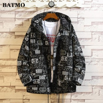 Batmo 2019 autumn new arrival Men's hooded casual jacket,fashion printed big size jacket coat men,size M-5XL.