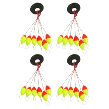 4 Pcs Yellow Red Plastic 6 in 1 Fishing Bobber Stopper Sz 3