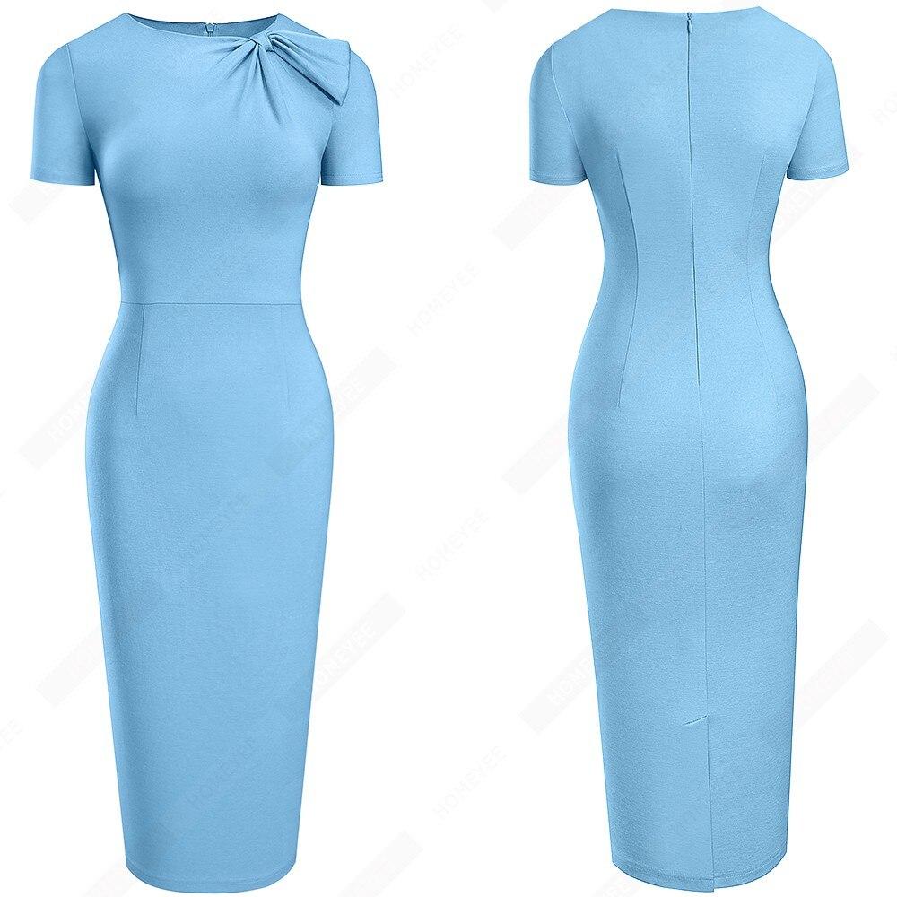 Women Brief Solid Color Classy Side Bow O Neck Fashion Slim Business Bodycon Pencil Dress EB622 4