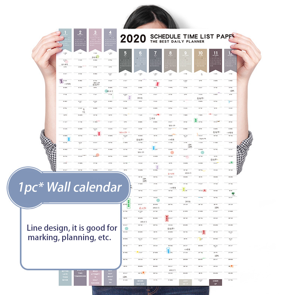2020 365 Days Writing Diary Planner Annual Schedule Wall Calendar Monthly DIY To Do List Reminding Multifunction Thick Paper