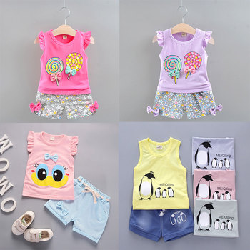 Summer 1-5Y Baby Girls Clothes 2pcs Kids Sets For Girls Outfits Lollipop T-shirt Tops+Short Pants Clothes Set Toddler Clothing 2pcs fashion toddler baby girls summer short sleeve tops t shirt denim hole roses floral dress skirt summer outfits clothes set