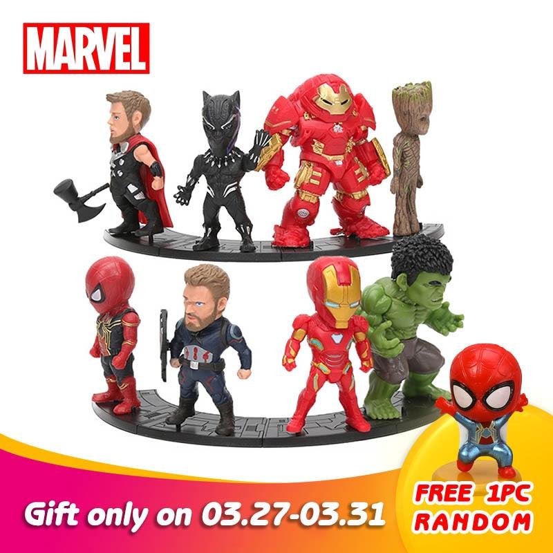 8pcs/set Marvel Toys 8-10cm Avengers Endgame Thanos Ironman Spiderman Hulkbuster Black Panther Groot PVC Action Figures Model