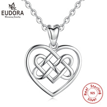 Eudora 925 Sterling silver Irish knot good luck pendant necklace Celtics love Pendants engagement Jewelry for Women CYD090