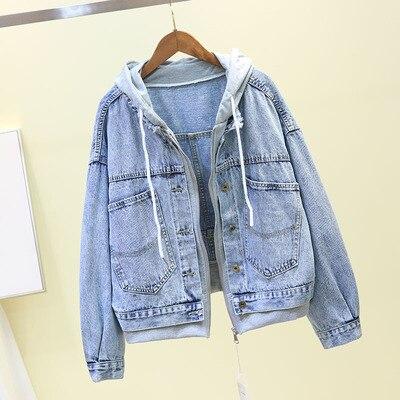 2019 Vintage Harajuku Loose Denim   Jacket   Pockets Autumn Long Sleeve Hooded Jeans   Jacket   Ladies Casual   Basic     Jacket