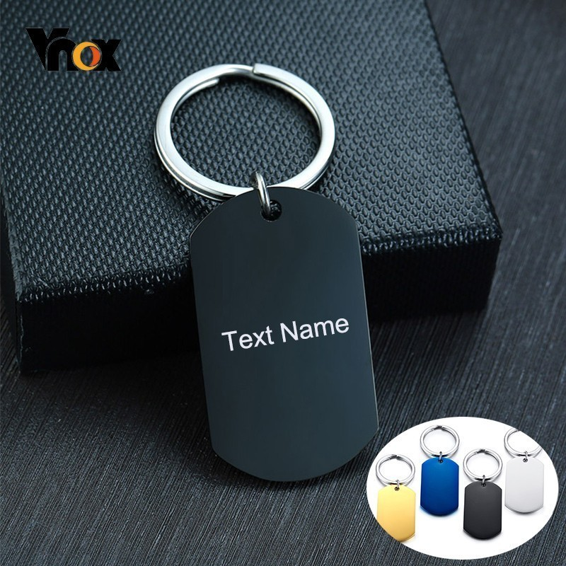 VNOX Personalized Custom Text Dog Tag Stainless Steel Keychain for Boyfriend Father Husband