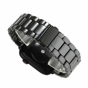 Image 4 - 3 Beads Ceramic Watchband for iWatch Apple Watch Series 5 4 3 2 1 38mm 40mm 42mm 44mm Women Men Band Wrist Belt Link Strap