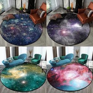 Image 1 - Gorgeous Starry Universe Series 3D carpet Living room bedroom non slip circular floor mat plush round rug custom made door mat