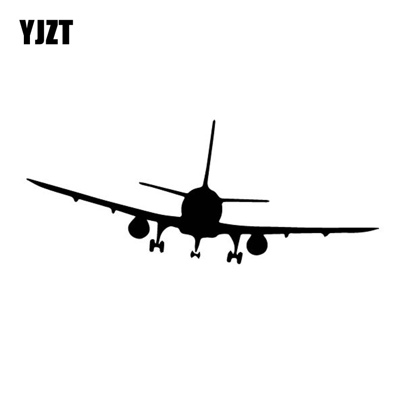 YJZT 13.4CM*15.8CM Cool Aircraft Positive Shadow Airplane Dazzling Vinyl Decal Wonderful Car Sticker Black/Silver C27-1160