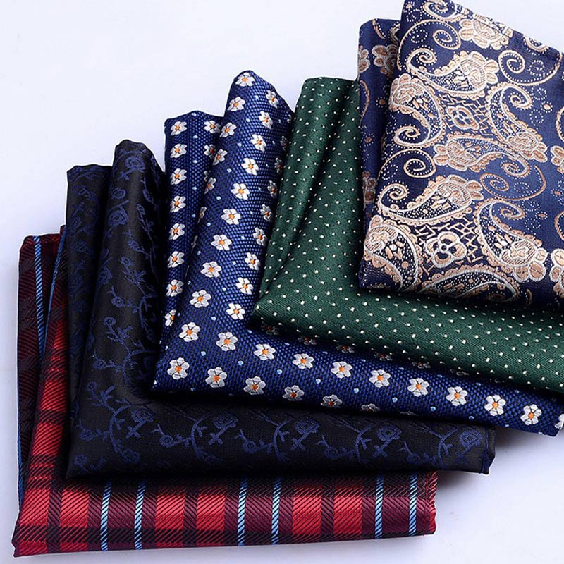 Hot Sale Men's Handkerchief  Striped Floral Printed Hankies Polyester Business Pocket Square Chest Hanky