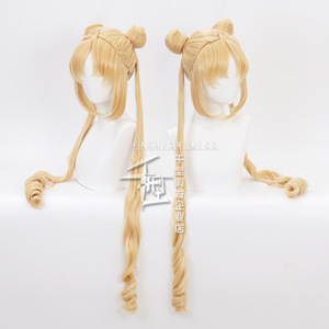 Image 5 - Sailor Moon Double Ponytail Long Straight Blonde  Synthetic Cosplay Wig for Halloween Costume Party