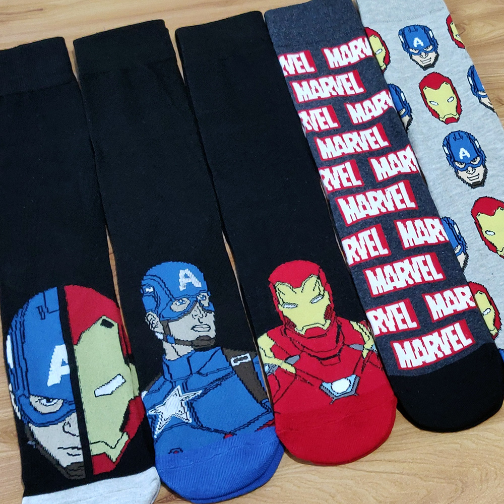 Image 2 - 10 Pairs/Pack Comics Hero General Socks cartoon Iron Man Captain America Knee High Warm Stitching pattern increase size Big SockMens Socks   -