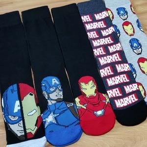 Image 2 - 10 Pairs/Pack Comics Hero General Socks cartoon Iron Man Captain America Knee High Warm Stitching pattern increase size Big Sock