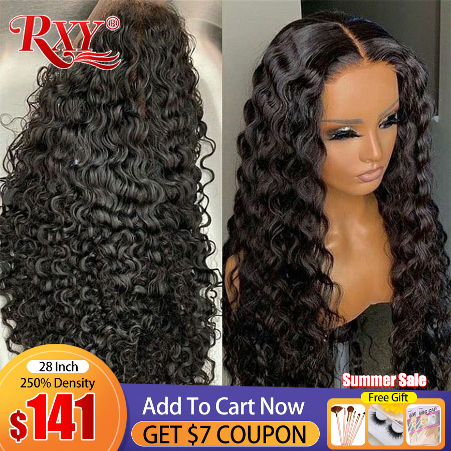 250 плотность, фронтальный парик с глубокой волной 9A RXY, прозрачные парики на сетке, T-образные вьющиеся человеческие волосы, парик для женщин, ...