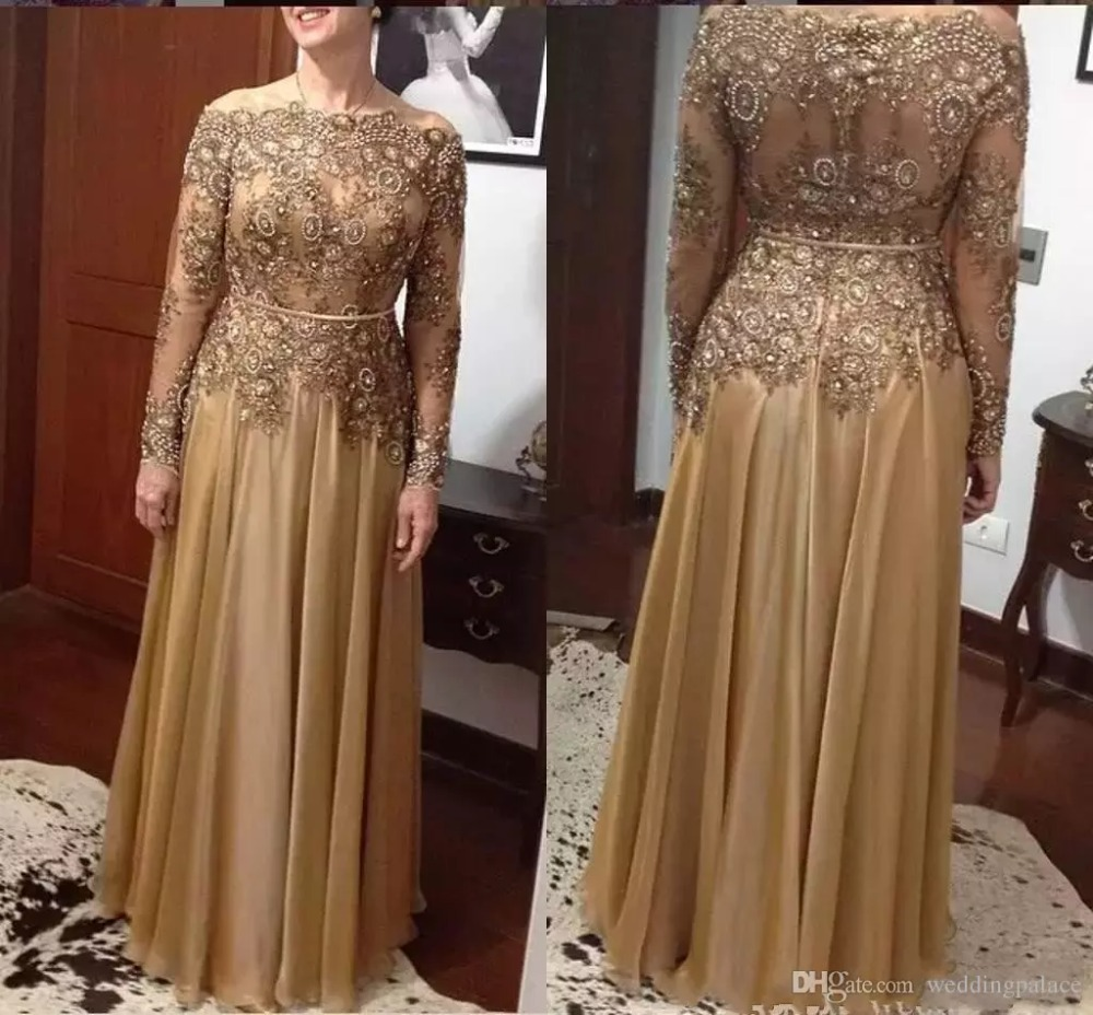 Chiffon Floor-length Zipper Back Mother's Formal Evening Party Gown Elegant Gold A Line Lace Bead Mother Of The Bride Dresses