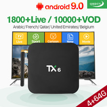 Android 9.0 IPTV France Berlangganan Box 4 + 64G Dukungan BT5.0 USB3.0 Dual-Band WiFi 4K Qhdtv 1 Tahun IP TV Perancis Bahasa Swedia Belgia(China)