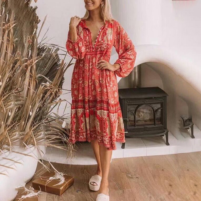 Women Bohemian dress Chiffon Small Fresh Dress Long Sleeve Print Large Pendulum deep V neck knee length holiday beach dresses
