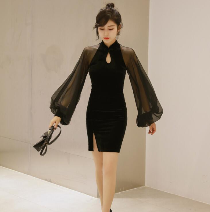 Automne robe 2019 femme Sexy Perspective lanterne manches courtes moulante robe Split court Cheongsam robe de soirée