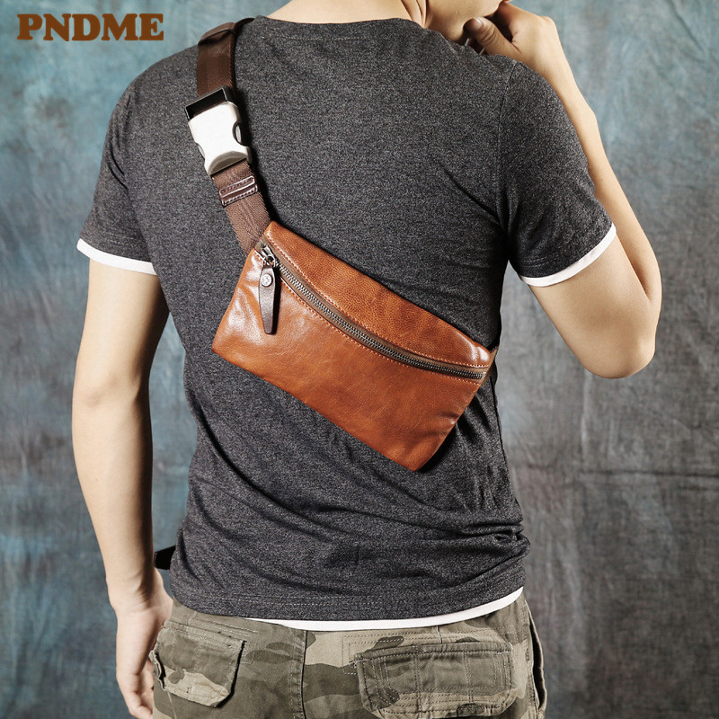 PNDME Simple Vintage Fashion Genuine Leather Men's Chest Bag Casual Soft Cowhide Sports Phone Messenger Bags Small Waist Packs