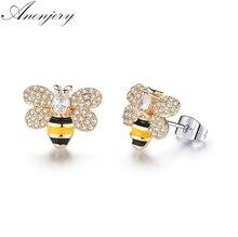ANENJERY Dazzling CZ Zircon Glaze Drop Oil Bee Stud Earrings For Women Girl Jewelry pendientes oorbellen brincos T-E19