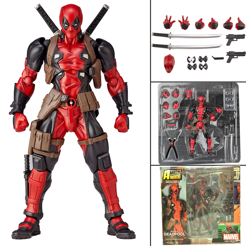 Amazing Yamaguchi Revoltech Series NO.001 Deadpool Superhero Action Figure Model Toy Doll Gift